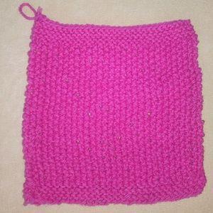 Other - Handknit Exfoliating Pink Cotton Washcloth